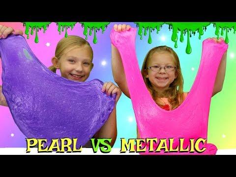 PEARL Slime vs METALLIC Slime Challenge!!! DIY Viral Slimes Tested!!!