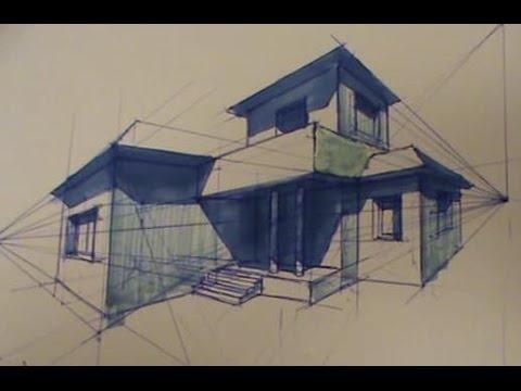 Casa en perspectiva c nica oblicua youtube for Arredamento della casa con la a