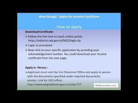 Kolkata - Apply for Income Certificate