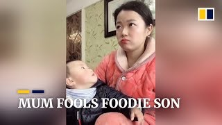 Chinese mum's acting keeps food-loving baby from swiping her snack