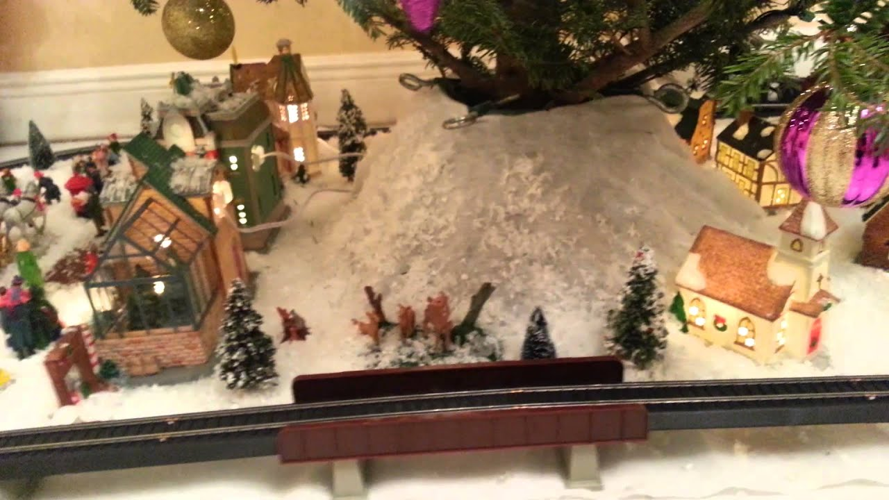 Christmas Village and Train set Under the Tree - YouTube
