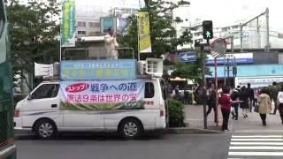 石村和宏東京原水協事務局長の高田馬場駅前での訴え。