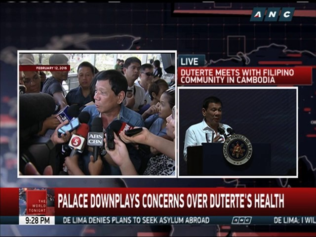 Duterte admits suffering from several illnesses