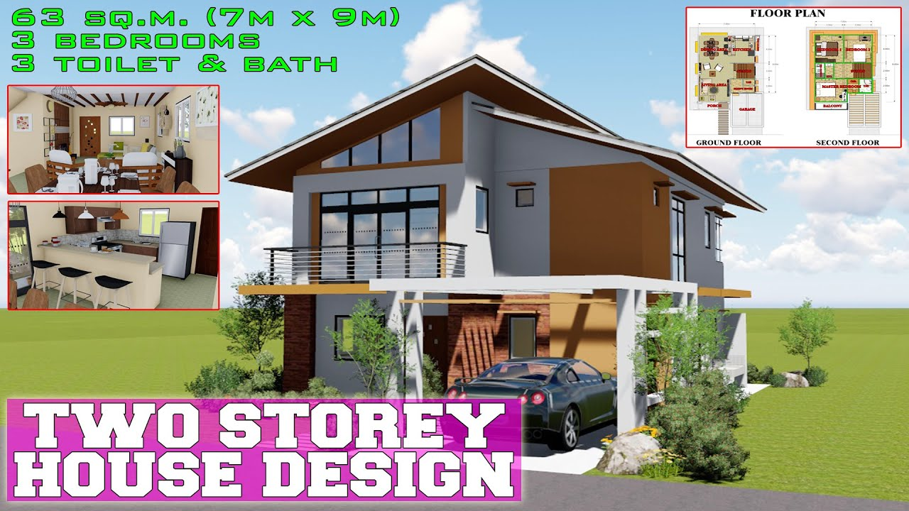 Modern Two Storey House Design With 3 Bedrooms 63 Sq M 7mx9m Youtube