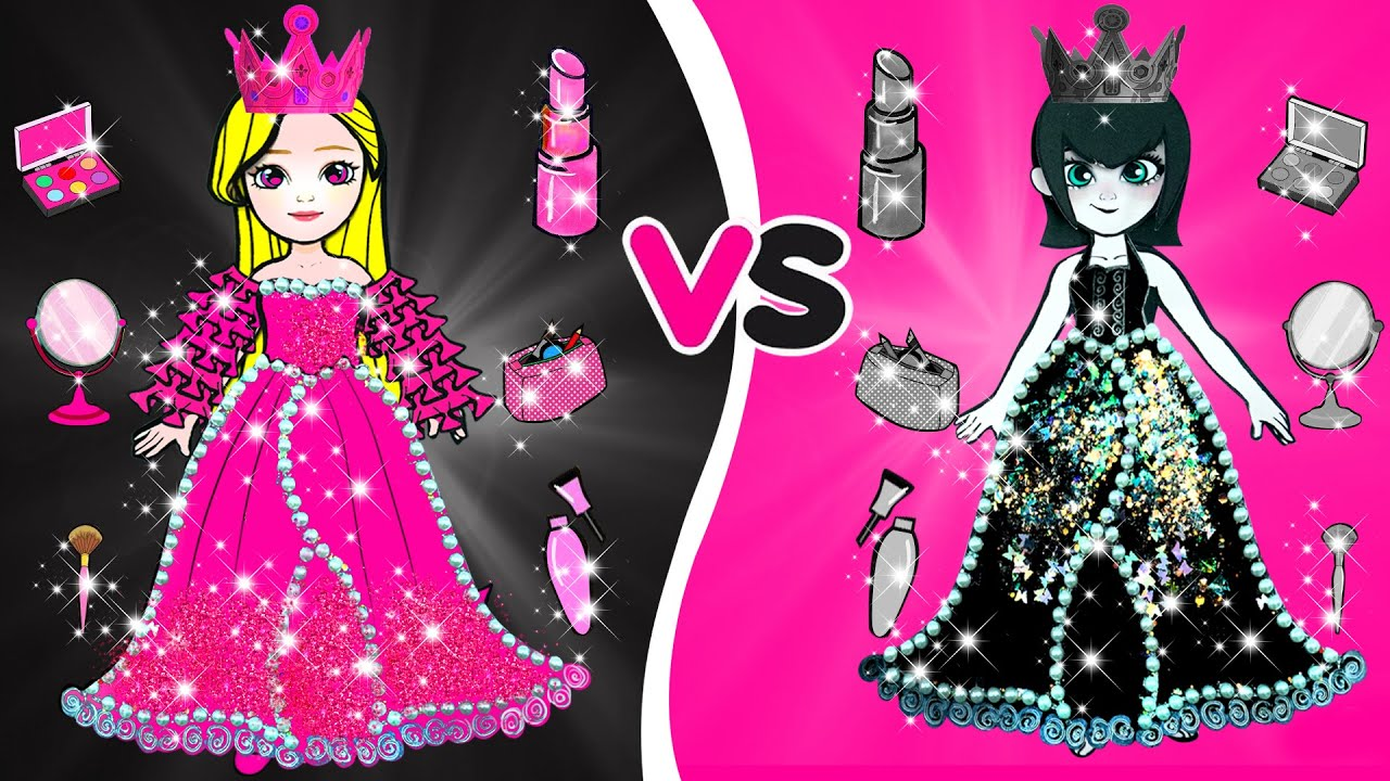 Paper Dolls Dress Up - Black Mavis Vs Pink Rapunzel Dresses Handmade Quiet Book - Barbie New Home