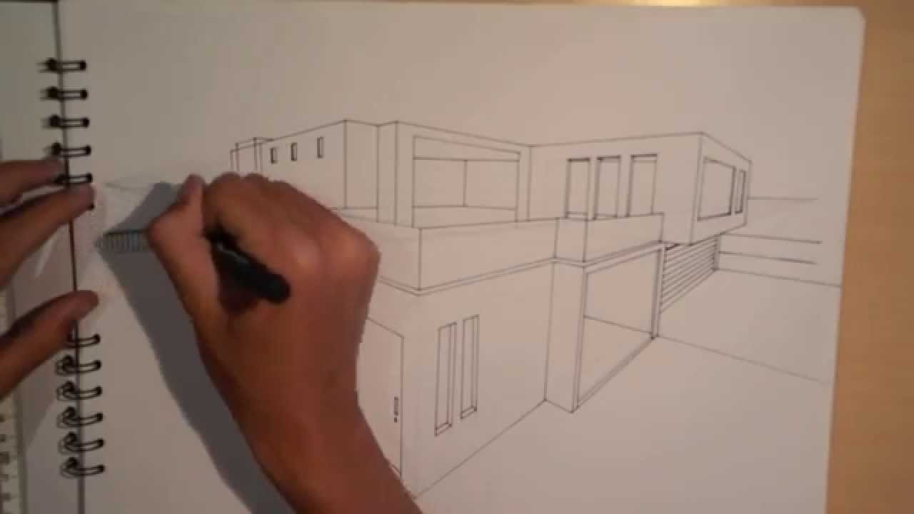 Architecture design 1 5 lets draw a house in 2 minutes 2 point perspective youtube