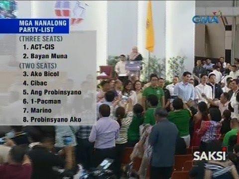 Saksi: 51 nanalong party-list groups, ipinroklama na