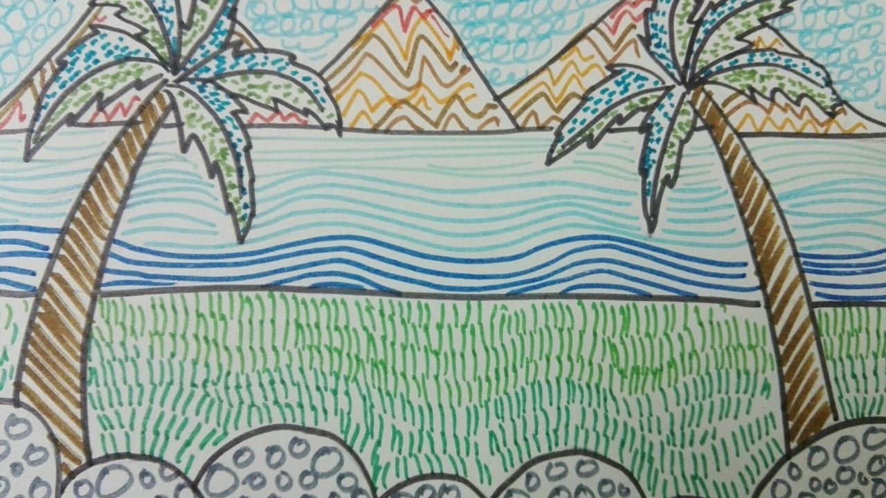 Draw beautiful scenery using patterns for kids YouTube