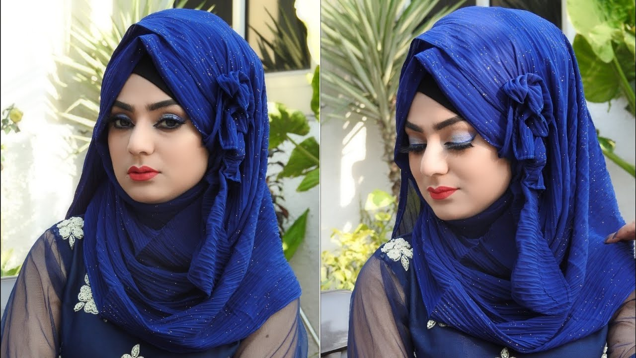 Easy Arabian Floral Hijab Style    Party Hijab Style    Hijab style for marriage function