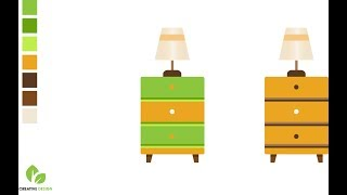 Learn How to draw vector furniture table icon. Tutorial illustrator. Creative Design