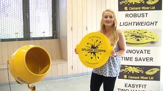 lady shows you how a cement mixer lid can  clean a cement mixer the easy way