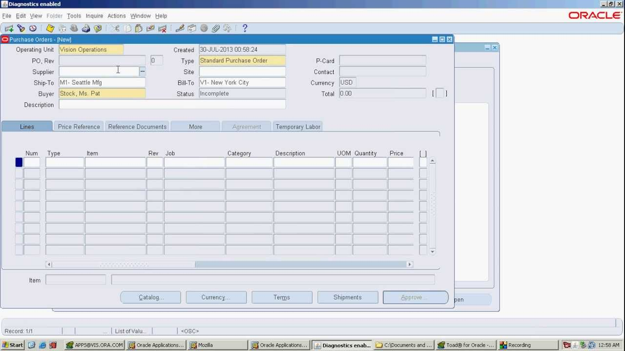 standard purchase order oracle apps r12