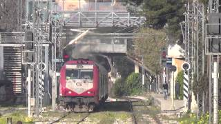 Greek commuter & regional trains at Aharne station (23/03/14)