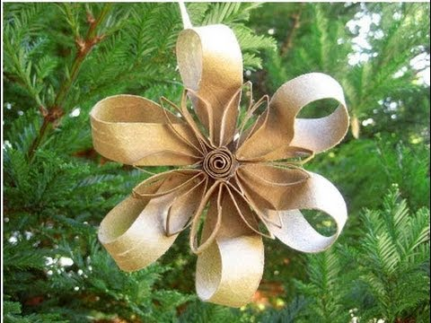Como hacer una flor navide a con rollos de carton for Como hacer decoraciones navidenas