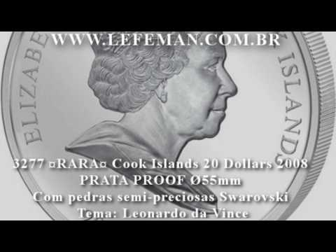 3277# RARA Cook Islands 20 Dollars 2008 PRATA PROOF Ø55mm Com pedras semi-preciosas Swarovski