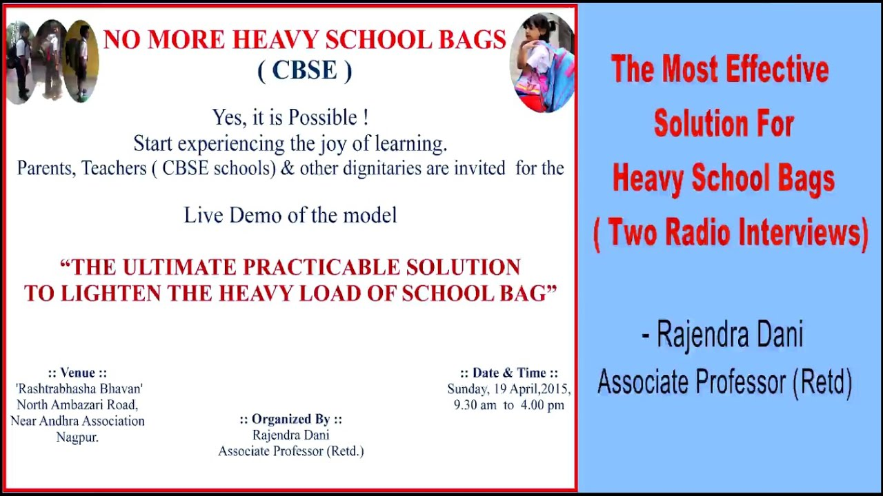 The Most Effective Solution For Heavy School Bags Appeal Through