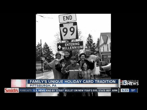 Pennsylvania family takes holiday photos in front of road signs for 30 years