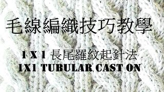 毛線編織技巧教學: 1X1長尾羅紋起針法 (1X1 Long Tail Tubular Cast On)