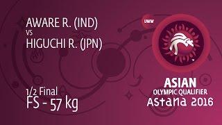 1/2 FS - 57 kg: R. HIGUCHI (JPN) df. R. AWARE (IND) by TF, 10-0