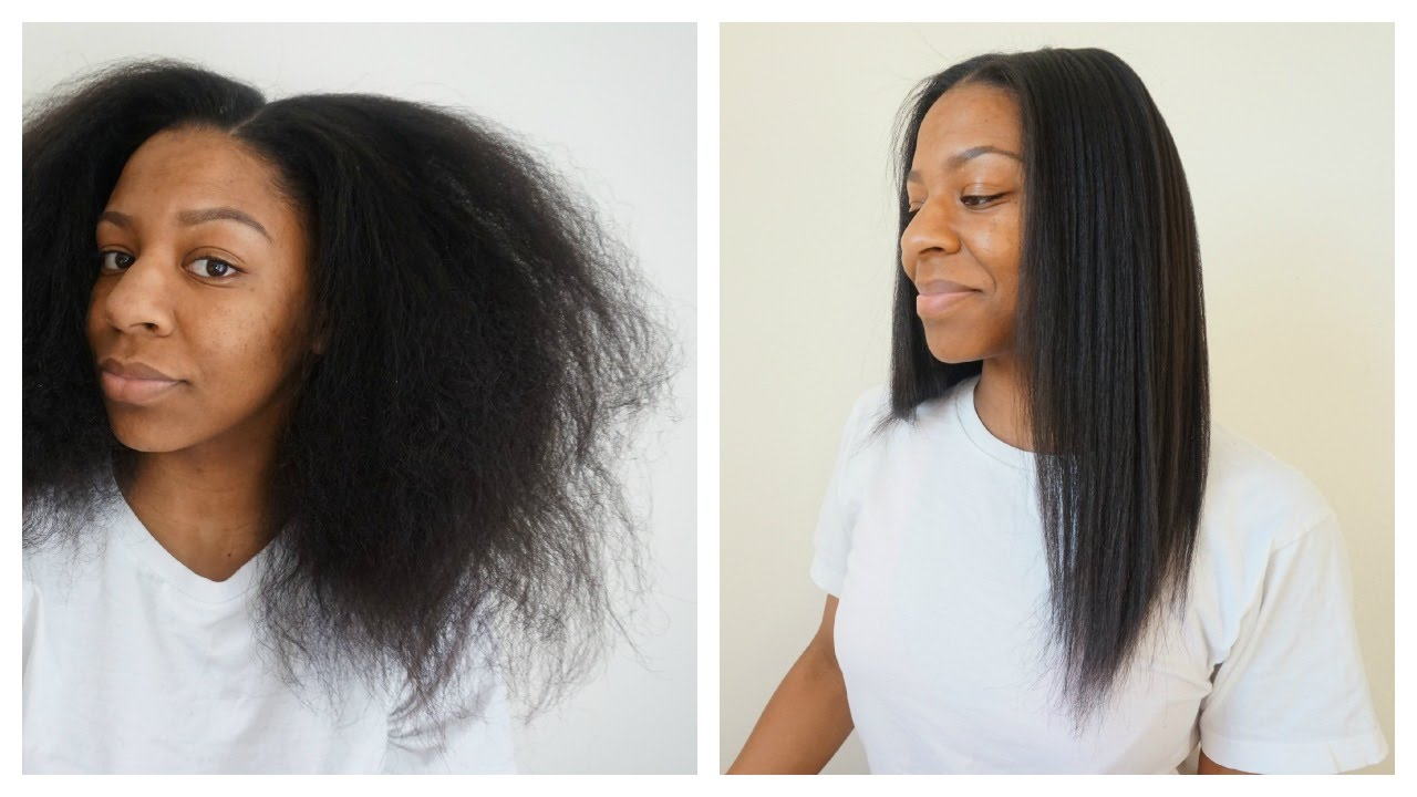 Natural hair straightened
