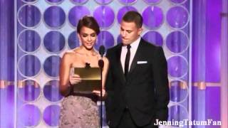 channing tatum and jessica alba present the best animated feature film golden globes 2012