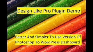 Design Like Pro Plugin Demo - Better And Simpler To Use Version Of Photoshop To WordPress Dashboard