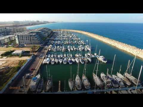 Herzliya Marina israel drone 4k
