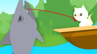 CAT CATCHES A SHARK! - Cat Goes Fishing Part 3 | Pungence
