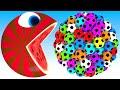 Pacman watermelon meets a giant soccer balls truck friends roll on farm as he find surprise box