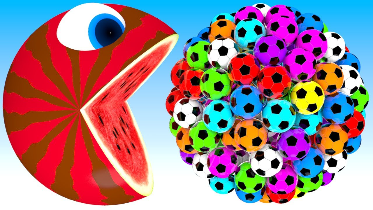 Download Pacman watermelon meets a giant soccer balls truck friends roll on farm as he find surprise box