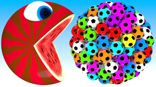 Pacman watermelon meets a giant soccer balls truck friends roll on farm as he find surprise box