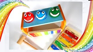 Teach Kids  Colors with Play Doh Smiley Faces and Pounding Table Bench | Learn with Toy Fun