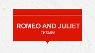 A quick outline of the key themes in Shakespeare's Romeo and Juliet...