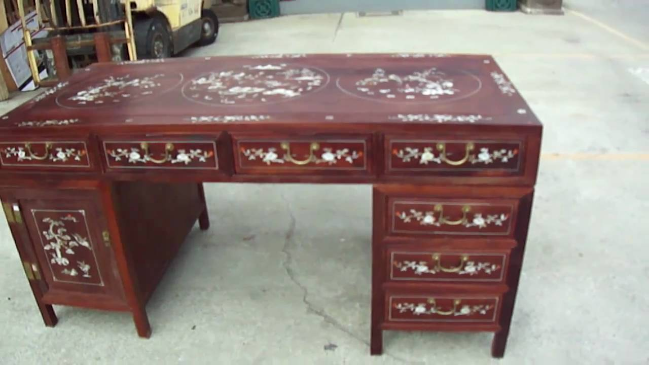 ... Red Wood Mother of Pearl Inlay Pedestal Writing Desk Table - YouTube