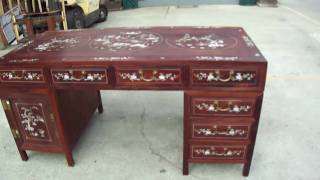 Chinese Red Wood Mother Of Pearl Inlay Pedestal Writing Desk Table