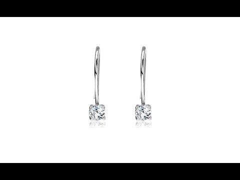 Jewellery - Silver earrings 925 - round clear zircons on hook, 3 mm
