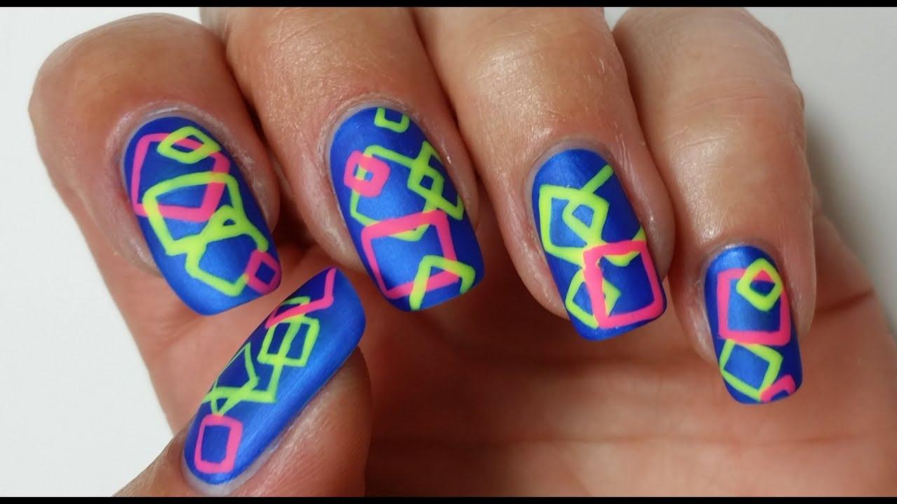 Geometric Nail Art | Freehand Neon Design - YouTube