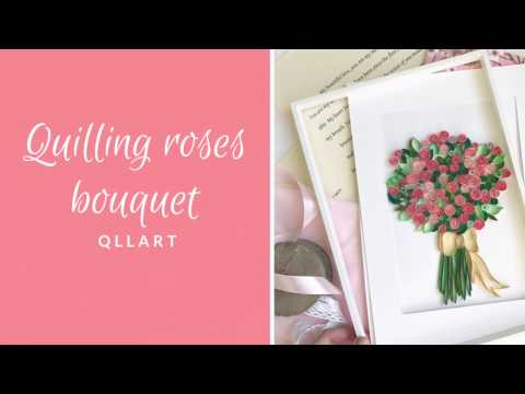 QllArt / Quilling filigree pattern/ How to make quilled roses bouquet