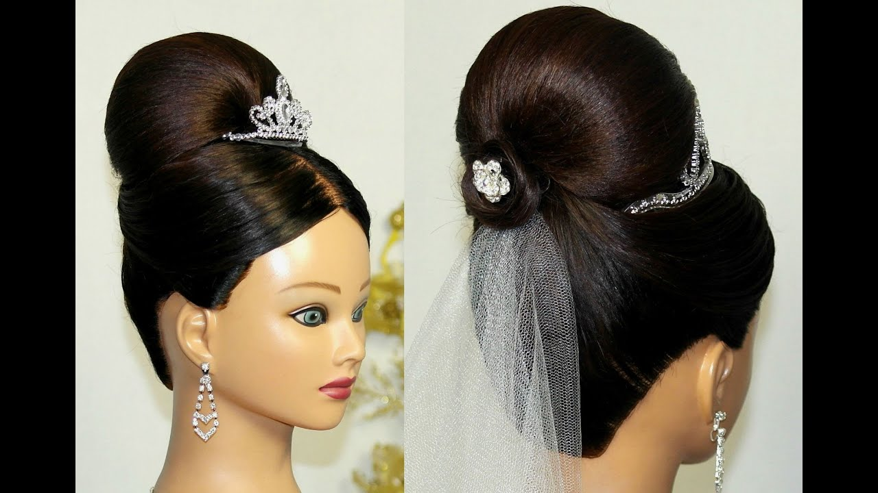 bridal updo. bun hairstyle for medium long hair. - youtube