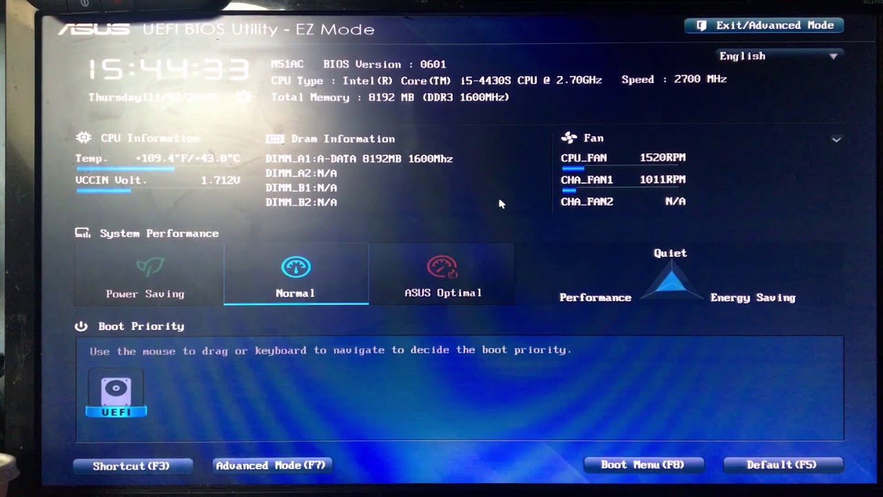 Stuck in ASUS UEFI BIOS UTILITY - EZ Mode