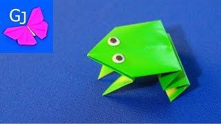 Оригами из бумаги :: ЛЯГУШКА - попрыгушка(Оригами из бумаги - Лягушка - попрыгушка, очень простая поделка для детей, которая способна прыгать! Понрави..., 2014-11-25T14:46:36.000Z)