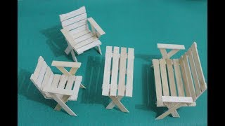 Cara Mudah Membuat Kursi Dan Meja dari Stick Ice Cream / DIY Make Chair and Table with Stick