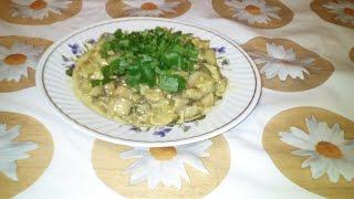 Тушеные грибы ( шампиньоны)в сметане, с сыром.