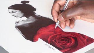 Ballpoint Pen Drawing - Yasmin Rose -  March Fan Art - Freehand Art