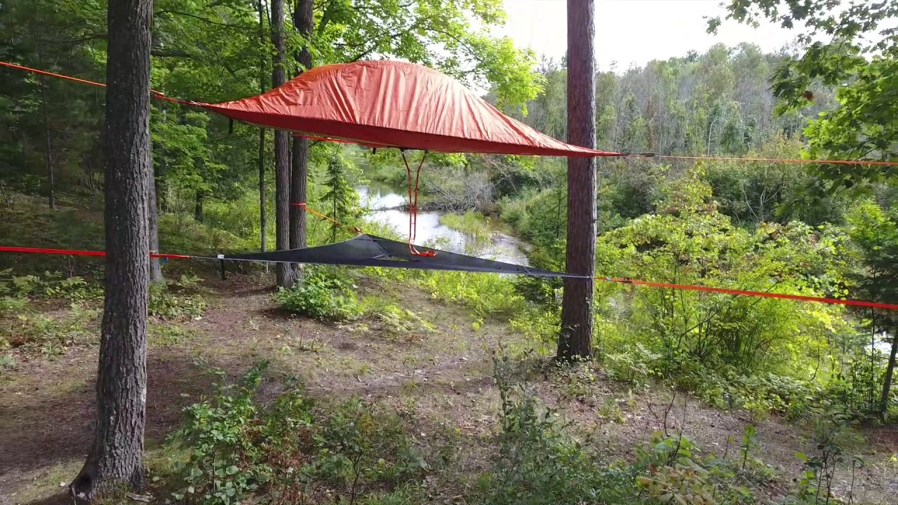 Drone footage of Tentsile Stingray tree tent and hammock & Drone footage of Tentsile Stingray tree tent and hammock - YouTube