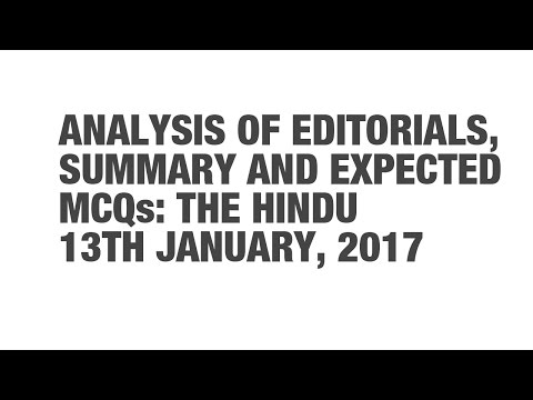 Editorial Analysis Summary, and Expected MCQs: The Hindu - January 13 {UPSC CSE/IAS, SSC CGL/CHSL}