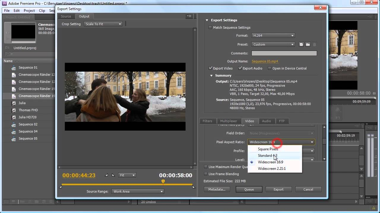 how to make cinemascope in adobe premiere