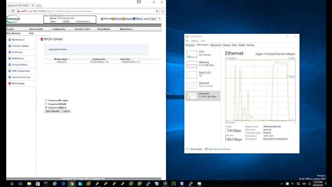 How to upgrade to Supermicro Xeon D SuperServer BIOS 1 1c over the IPMI Web  UI