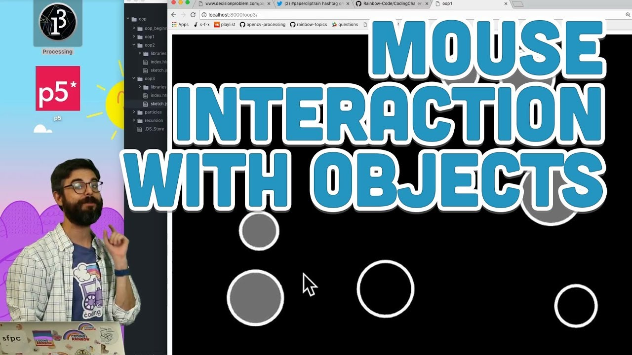 7 4: Mouse Interaction with Objects - p5 js Tutorial - YouTube