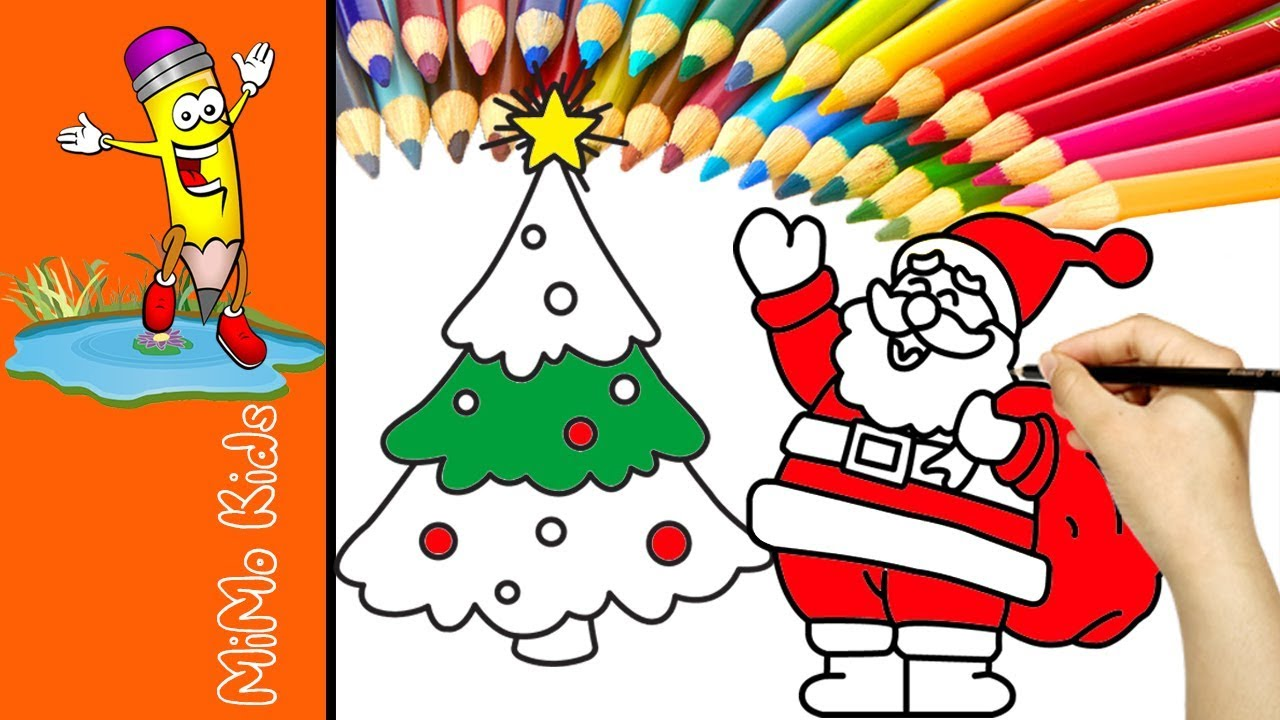 santa and christmas tree coloring pages for toddlers christmas coloring pages learning colors